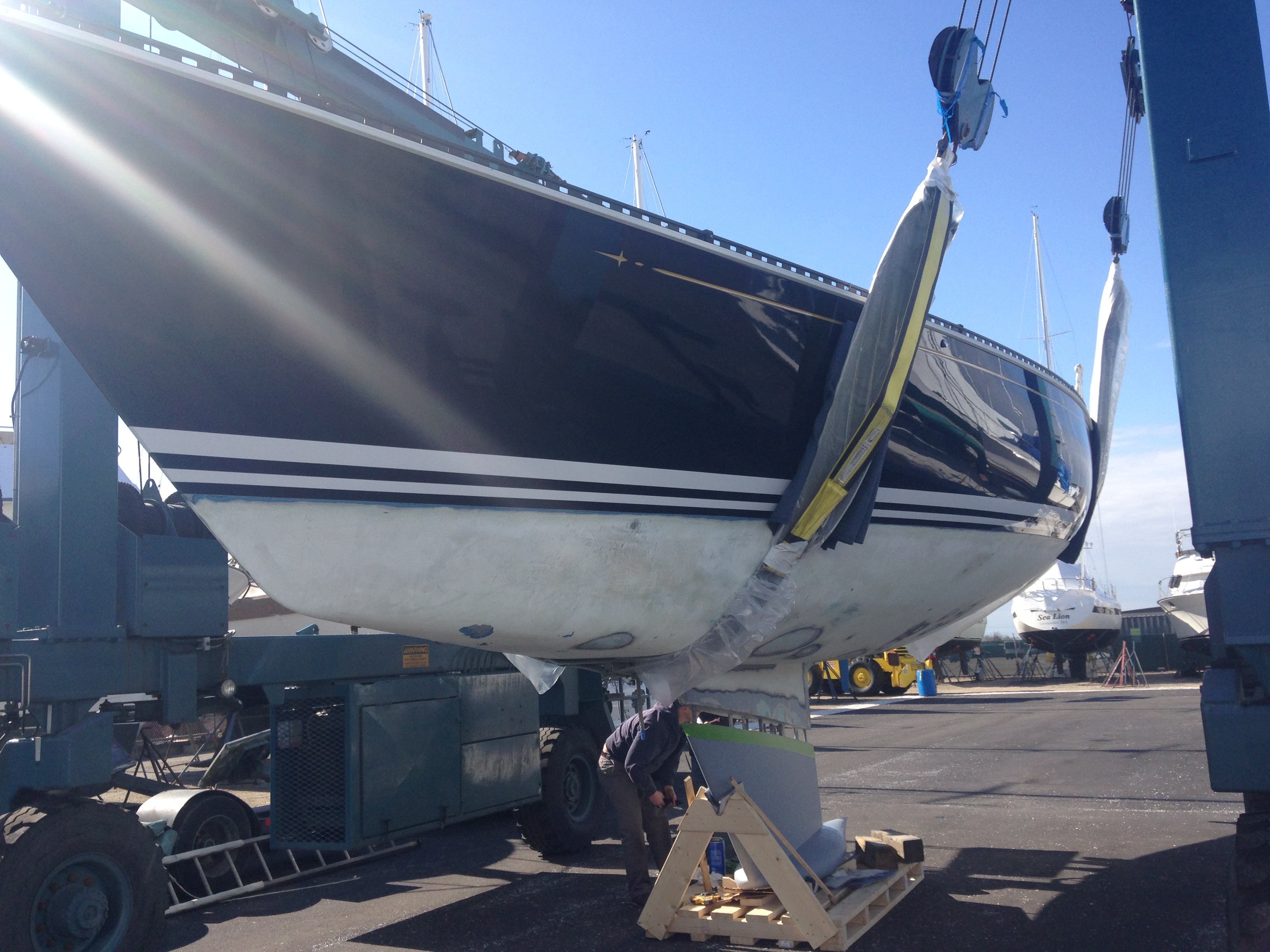 Installation of new keel on a C & C Sailboat