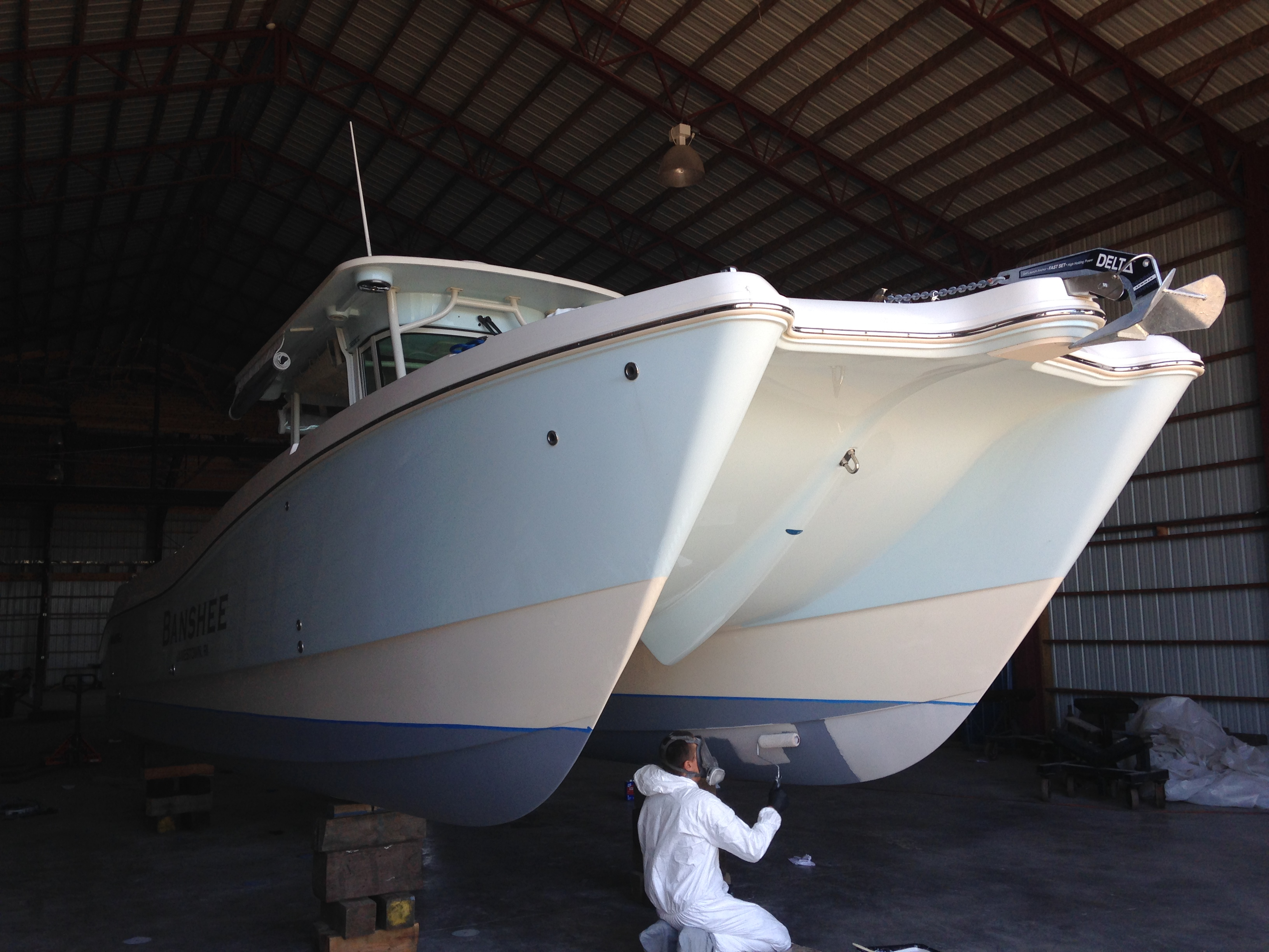 Worldcat powerboat barrier coat application