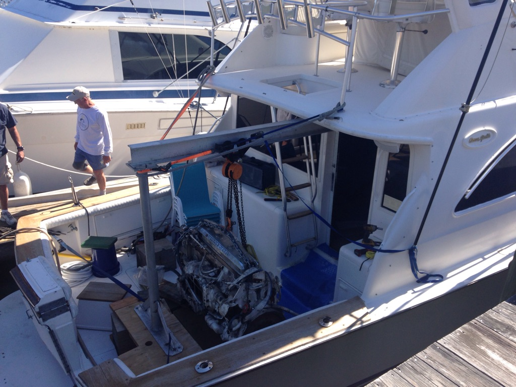 Engine removal on Ocean Yacht: When the crane just wont fit...
